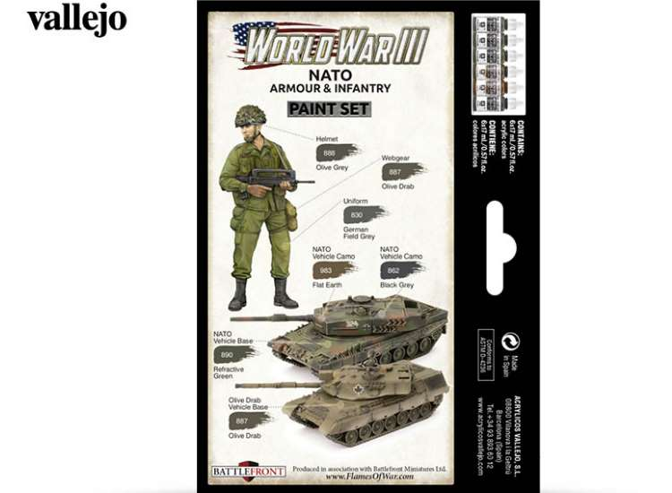 Vallejo 17ml x6 70223 Model Color Acrylic Paint Set - WWIII NATO Armour / Infantry