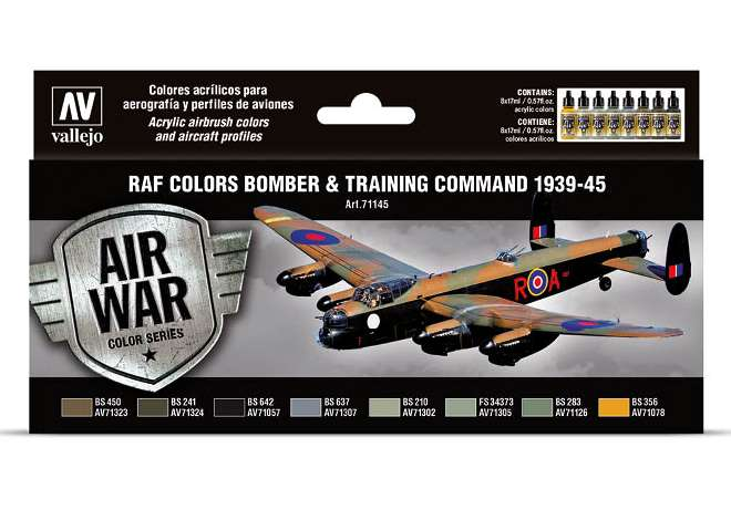 Vallejo Model Air Acrylic Paint Set - Bomber / Training Air Command 71145