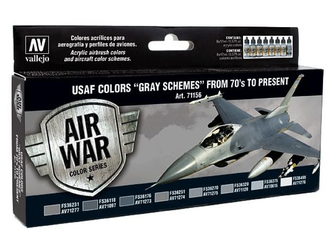 Vallejo Model Air Set - USAF Colours Grey Schemes from 70's to present