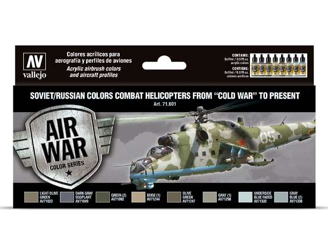 Vallejo Model Air Acrylic Paint Set - Soviett / Russian Helicopters 71601