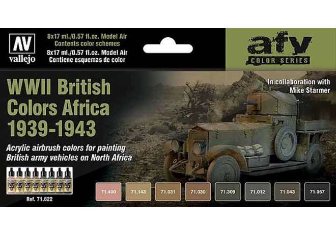 Vallejo Model Air Paint Set - WWII British Vehicle Colours Africa 1939-43