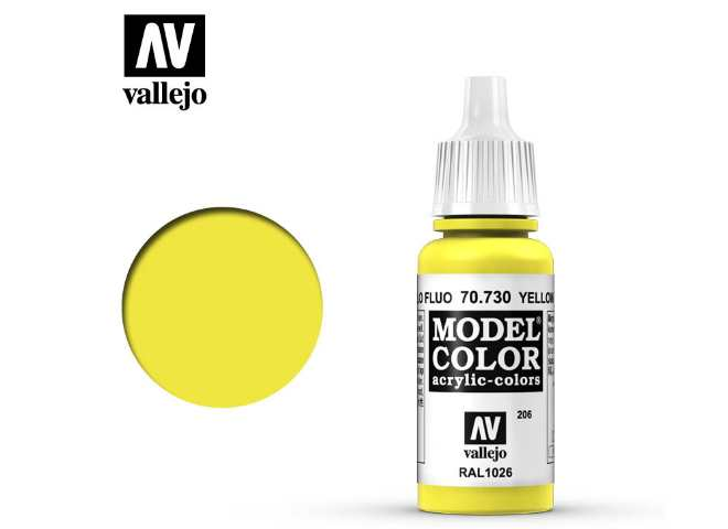 Vallejo 17ml 730 206 Model Color - Fluorescent Yellow 730