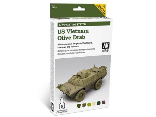 Vallejo Armour Acrylic Model Air Paint Set - Vietnam Olive Drab
