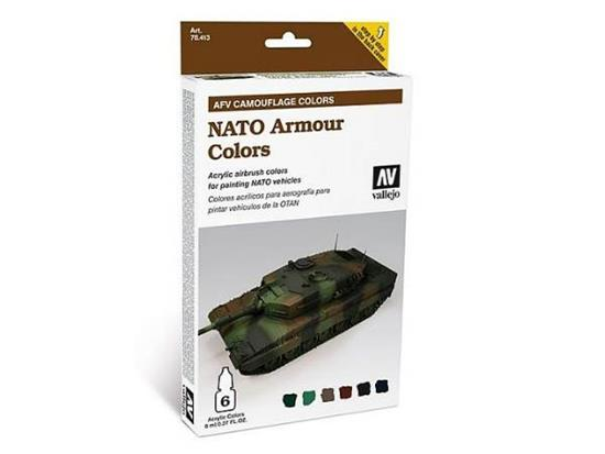 Vallejo Armour Acrylic Model Air Paint Set -  NATO Camouflage