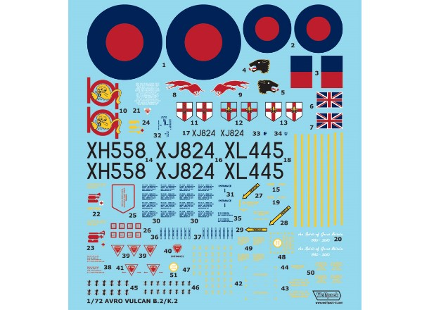 Wolfpack Design 1/72 WD72001 Avro 698 Vulcan B.2/K.2 Decal Part.1
