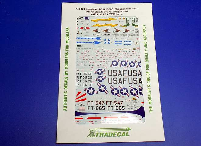 Xtradecal 1/72 72120 Lockheed T-33A/Lockheed P-80C Shooting Star Part 1